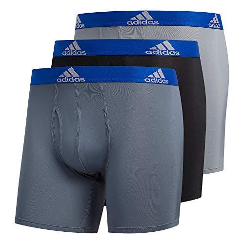 adidas Men's Performance Boxer Brief Underwear (3-Pack) Boxed, Onix Grey/Black/Collegiate Royal Blue, Medium