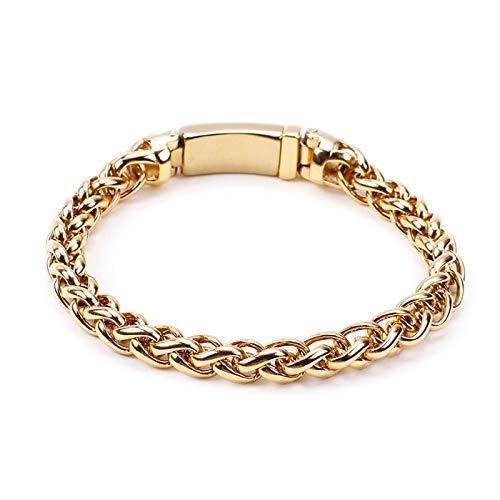 Beydodo Charm Armband für Herren Edelstahl Gold Francokette 8 MM Freundschaftsarmband Armbänder 22CM