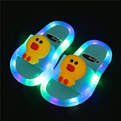 Kirin-1 Zapatillas De Mujer Baratas,Zapatillas De NiñAs De Bi Led con Luz Brillante Sonriente Antideslumbrado En La Parte Inferior del Agua.-Azul_30-31 Longitud del Zapato 17.5cm
