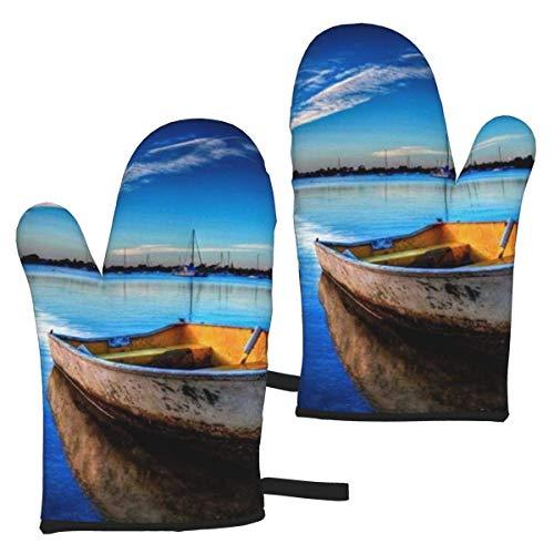 Barco en Guantes de Horno de Agua Azul, Guantes de Horno de microondas a Prueba de Calor, Guantes de Cocina Guantes de Cocina Resistentes al Calor 1 par