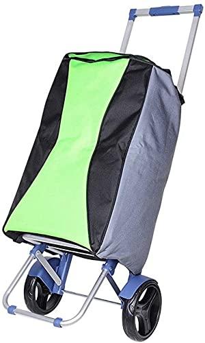 Eortzzpc Carrello a Mano Pieghevole in lega di alluminio Colore Impermeabile Borsa da cloto for abbinamento Impermeabile Carrello Carrello leggero Climbing Carrello con 2 grandi ruote for carrello mul