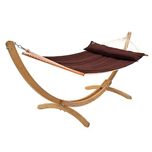 COFEA ROBUSTA Set amaca Rio Grande, telaio in legno in American Hammock Lifestyle, con cuscino e resistente agli agenti atmosferici