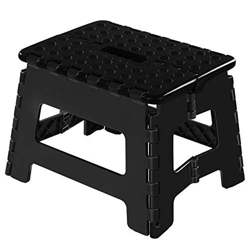 Topfun Folding Step Stool, 11 inch Non-Slip Footstool for Adults or Kids, Sturdy Safe Enough, Holds up to 300 Lb, Foldable Step Stools Storage/Open Easy, for Kitchen,Toilet,Office,RV (Black, 11inch)