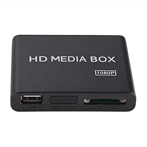 Mugast Mini Media Player Box, Lettore Multimediale Video Full HD 1080P con Telecomando, Supporto USB Mobile Hard Disk MMC RMVB MP3 Avi MKV(EU Plug)