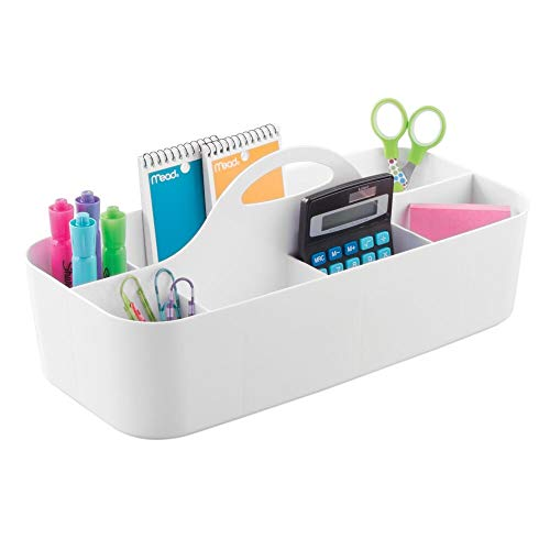 mDesign Schreibtisch Organizer für Schere, Stifte – ideales Büro Zubehör für einen geordneten Arbeitsplatz – praktischer Büro Organizer – weiß