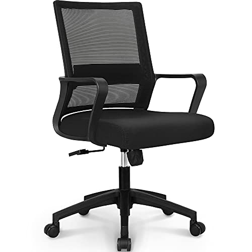 NEO CHAIR Office Swivel Desk Ergonomic mesh Adjustable Lumbar Support Computer Task Back armrest Home Rolling Women Adults Men Chairs Height Comfortable Gaming Guest Reception (Black)