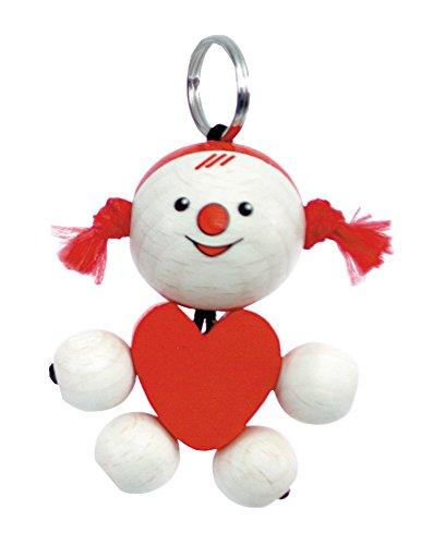 Hess Lucie 11436 Porte-clés en bois en forme de cœur pour bébé, 5 cm, multicolore