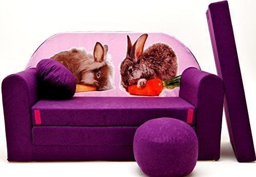 Pro Cosmo- Sofá Cama para niñosG1con puf, reposapiés y Almohada, Tela Multicolor, 168x 98x 60cm