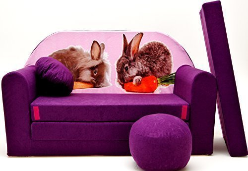 Pro Cosmo G1Kinder Sofa Bett mit Puff/Fußbank/Kissen, Stoff, Mehrfarbig, 168x 98x 60cm