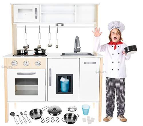 StrMy Cucina in Legno Giocattolo per Bambini Cucina Classica Bianca con Accessori per Cucina e Luce