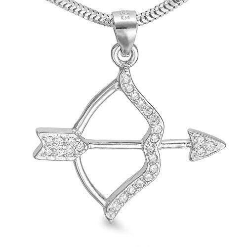 Halskette Pfeil und Bogen Anhänger in Schlangenkettegliederung mit Zirkonia - Amor Engel Liebesengel #1330