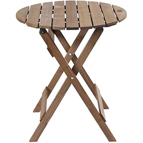 Klapptisch,Klapptisch Massivholz Tragbar Balkon Holz Lerntisch Runder Tisch Tragbar Picknicktisch Runder Tisch 62x71cm(24x28inch)