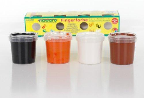 Fingerfarben 4er Set orange, braun, weiss und schwarz von Ökonorm