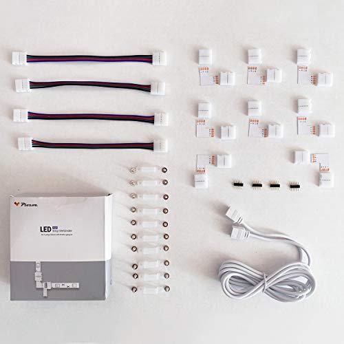 LED Strip Verbinder, LED Stripe Verlängerung, LED Strip Eckverbinder, LED Streifen Befestigungsclips, Für 10mm 4 Polig RGB 5050 LED Strip