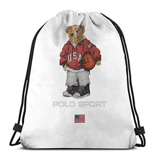 Desing shop Vintage Polo Bear 3D Print Drawstring Backpack Rucksack Shoulder Bags Gym Bag for Adult 16.9