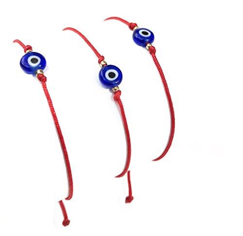 MASLOV 3x lucky eye red string avoid envy kabbalah adjustable bracelet
