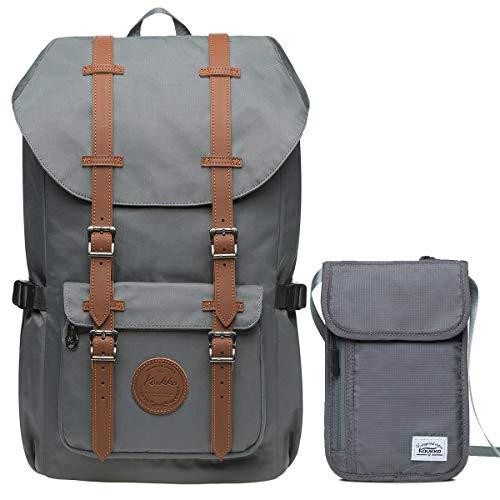 """KAUKKO Rucksack Damen Herren Studenten Laptop Backpack für 15\"""" Notebook mit Kleine Tasche (Grau-Set KI02+EP5-11)"""