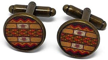2 gemelli retrò costume Africa resina arancione arancione marrone ottone 16mm regali personalizzati regalo di Natale...