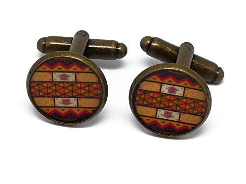 2 gemelli retrò costume Africa resina arancione arancione marrone ottone 16mm regali personalizzati...
