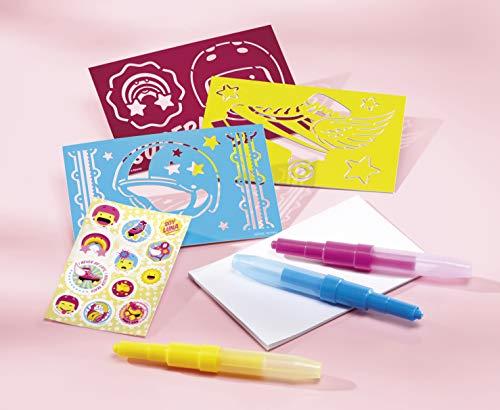Totum Soy Luna Bastel-Set Spray-Pens – Pustestift-Bilder mit Schablonen, Stiften, Glitzer und Stickern