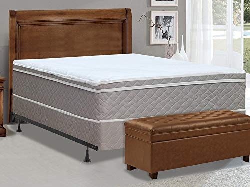 Spinal Solution 10-Inch Meduim Plush Eurotop Pillowtop Innerspring Fully Assembled Mattress and 4' Wood Low Profile Traditional Box Spring/Foundation Mattress Set with Frame, Queen