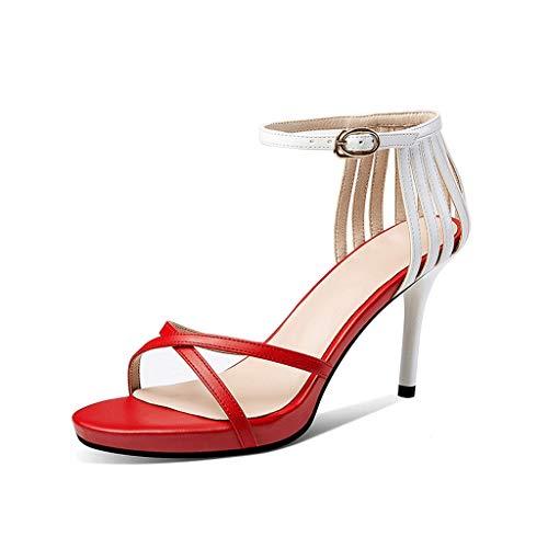 Pli Tasche mit Plateausohlen High Heels Damen Sandalen mit offener Spitze 8,5 cm hoch A ++ (Color : Red, Size : 39donglu)