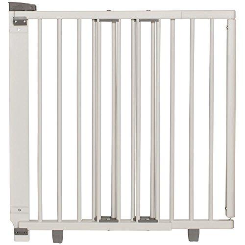 Geuther - Treppenschutzgitter ausziehbar 2734+, für Kinder/Hunde, Türschutzgitter zum bohren, Holz, weiß, 86 - 133 cm, TÜV geprüft