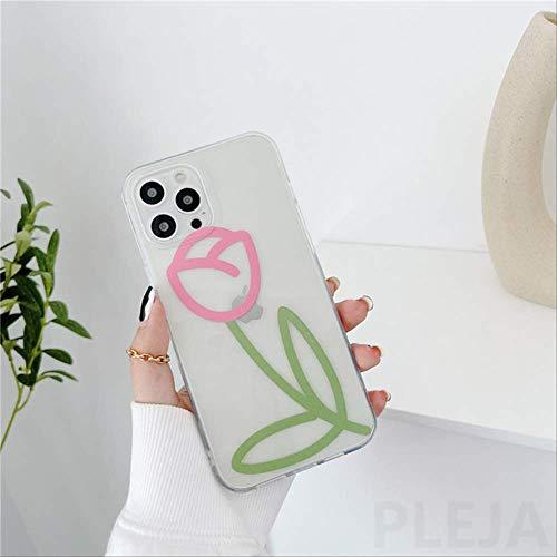 Lindas Fundas de teléfono con Flores para iPhone XS 12 Mini 11 Pro MAX 7 8 Plus SE 2020 X XR Pintura de Colores Cubierta de Silicona Transparente Suave Shell para-iPhone7Plus PP355
