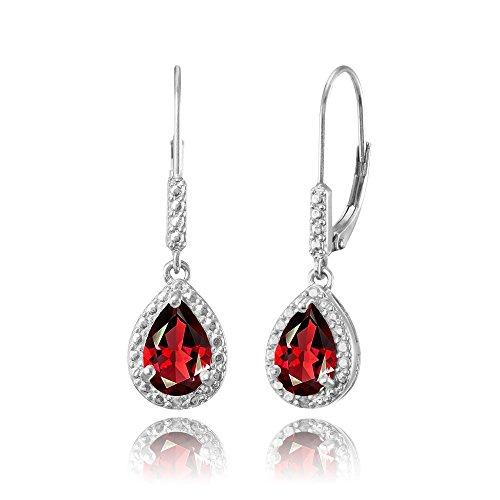 Sterling Silver Synthetic Ruby Teardrop Dangle Leverback Earrings