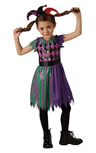 Rubie's officiële Harlequin Jester Halloween eng Circus meisjes kostuum