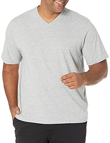 Amazon Essentials - Camiseta de manga corta de cuello de pico y corte holgado para hombre, paquete de 2 unidades, Gris (Heather Grey Hea), US L (EU L)