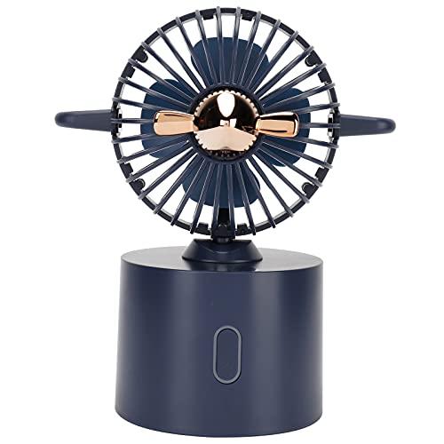 Alvinlite Mini Ventilador oscilante de avión, Estilo Minimalista portátil, Carga USB de Escritorio de Mano Ajustable para Verano, Oficina en casa(Negro)