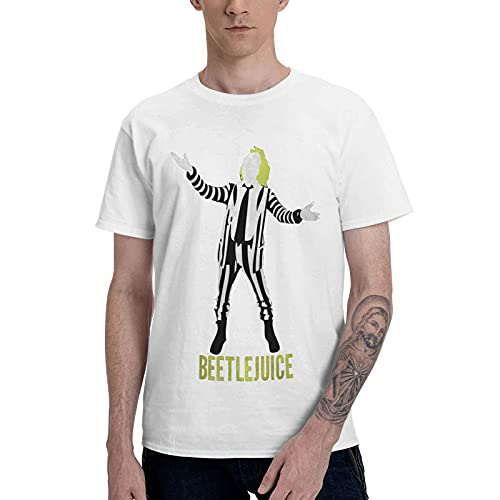 COOTHING Beetlejuice Men Fashion Simple Printed Basic Round Neck White T Shirt Clothes