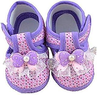 [hfeweng] 赤ちゃん 靴 ファーストシューズ 蝶結び 水玉模様 やわらかい つま先保護 プリンセス 歩行練習 履き心地いい 女の子 出産お祝いプレゼント ギフト パープル