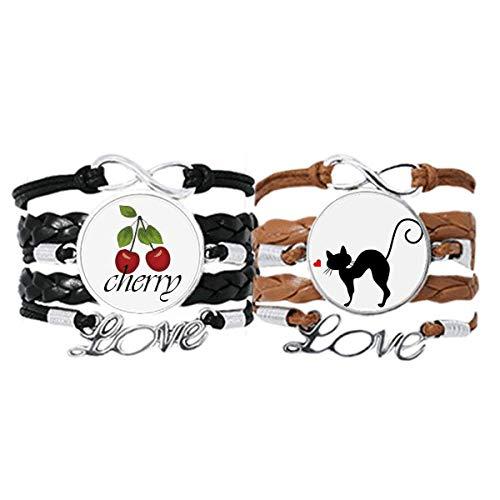 Bestchong Pulsera Sihouette con forma de corazón con forma de animal y gato, correa de mano, cuerda de cuero, pulsera de amor de cereza, juego doble