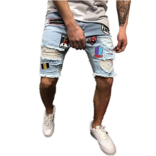 Freeby Men's Jeans Shorts Personality Fashion Embroidery Cotton Distressed Denim Shorts Ripped Jeans Casual Holes Pants Summer Shorts (Blue, XXL)