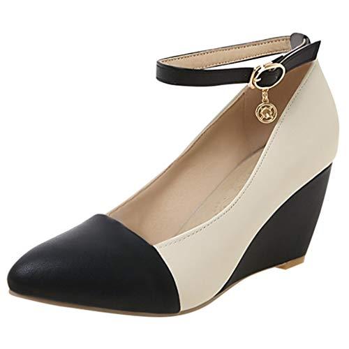 NMERWT Damen Pumps Mode Büro Lady Spitzschuh Knöchelriemen Keilabsatz Pumps Wedges Schuhe mit Plateau Übergrößen Schuh High Heels