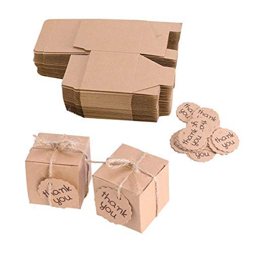 TOYANDONA Bolsas de Regalo de Papel Kraft Cajas de Regalo con Cuerda de Yute Regalo Adhesivo Pegatinas Bolsa para Boda Dulces (10pcs Cajas del Caramelo y Tarjetas de 10pcs)