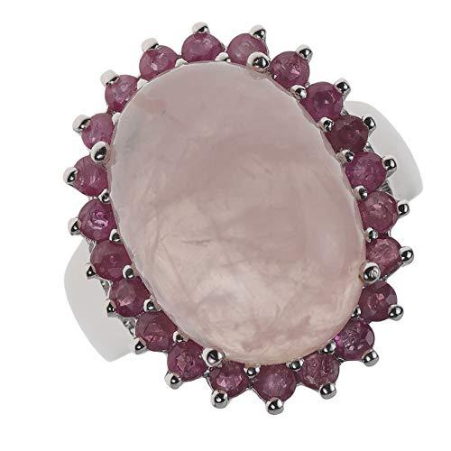 La Luna Entourage Damen Ring echt 925 Sterling Silber mit Rubin und Rosenquarz 57/18,1 mm Damenring