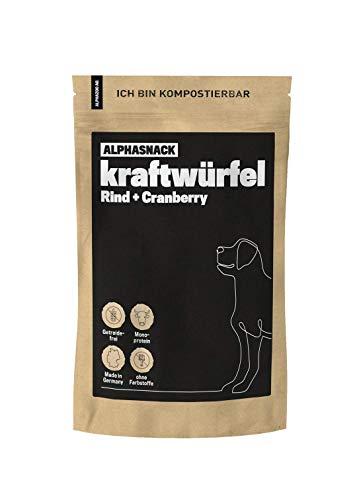 alphazoo kraftwürfel Rind + Cranberry | Energie für das Hunde-Training | Hundeleckerli getreidefrei | gesunder Fleischsnack zur Belohnung | natürliche Trainings-Leckerlis | hoher Fleischanteil (200g)