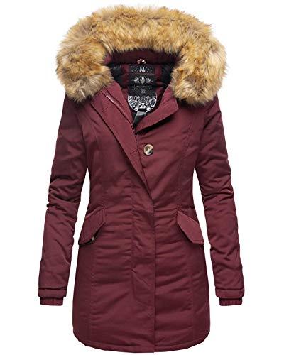 Marikoo Damen Winter Jacke Parka Mantel Winterjacke warm gefüttert B362 [B362-Karmaa-Weinrot-Gr.S]