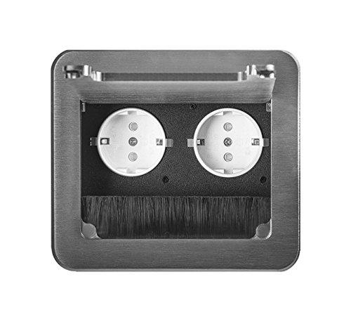 Einbausteckdose 2-4-fach inkl. Ethernet Tischsteckdose Bodensteckdose (2er, silber) B 0243-silber