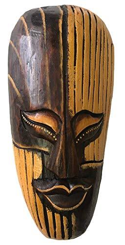 Woru Maske bemalt 20 cm, Holzmaske aus Bali, Wandmaske (Zauberer)