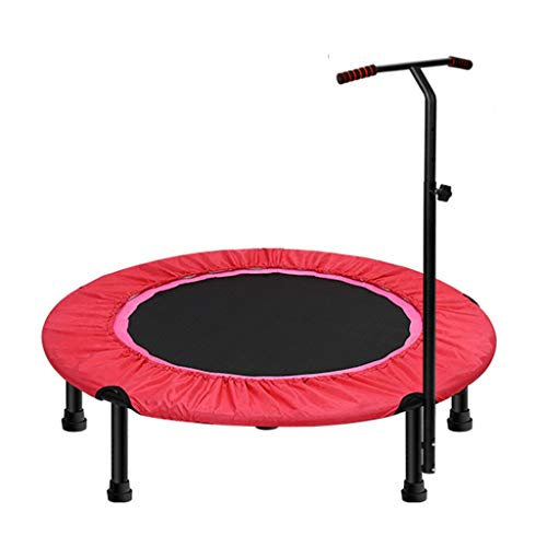 40″ Exercise Trampoline for Adults or Kids, Mini Fitness Trampoline With Adjustable T-bar Stability Handle Aerobic Bouncer Trampoline for Gym/Home, Max. Load 200kg in Red