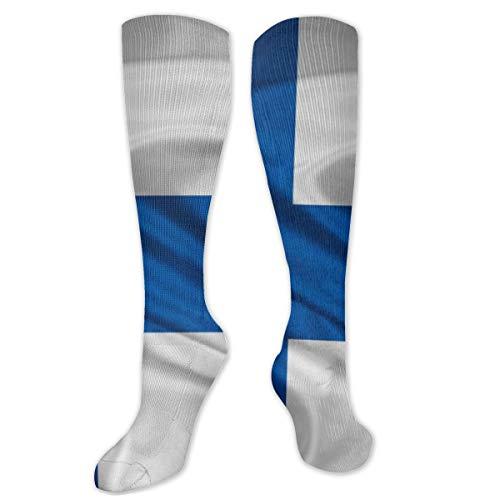 Polyester Katoen Over Knie Been Hoge Sokken Retro Unisex Dij Kousen Cosplay Laarzen Lange Tube Sokken voor Sport Gym Yoga-Finland Vlag Europa