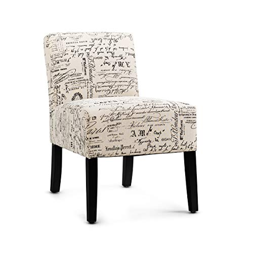 Giantex Fabric Accent Chair, Contemporary Leisure Side Chair w/Linen Cloth, Thick Sponge Cushion, Comfortable Backrest, Upholstered Armless Accent Chair for Living Room, Bedroom (1, Letter Print)