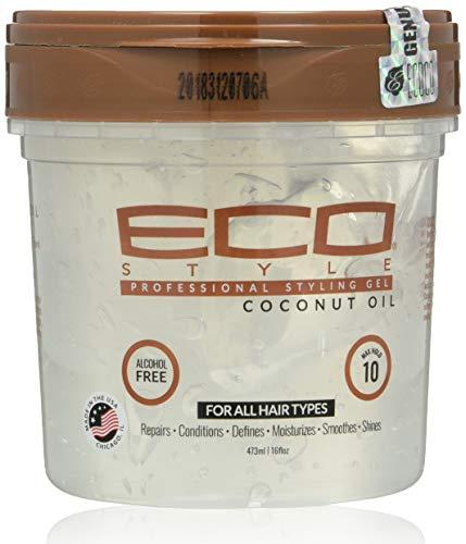 Ecoco - Eco Style Gel - Coconut Oil - Sans Alcool - Pour Tous les Types de Cheveux - Tenue et Brillance Longue Durée - Pas De Paillettes - Pas De Pincement - Anti Démangeaisons - 16 oz/473 ml