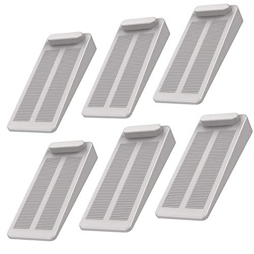 Yosemy gummi dörrstoppare, 6 stycken turkosa tyngdbelastning halkfri höjd justerbar fönsterpropp kil används på badrum, balkontur, barnrum, terrassdörr, glasdörr ljusgrå)