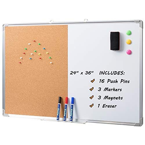 "Marble Field 36"" x 24"" Magnetic Whiteboard & Cork Board Combo Board Set, Wall Mounted Notice Bulletin Board Dry Erase/Cork Board Combination with Aluminum Frame"