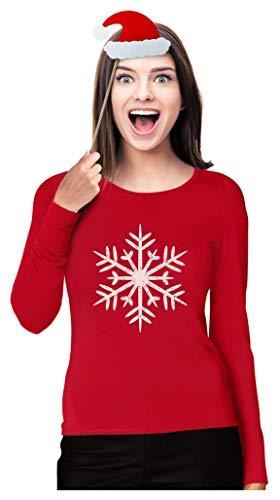 Big White Snowflakes Christmas Shirt Xmas Women Long Sleeve T-Shirt Medium Red